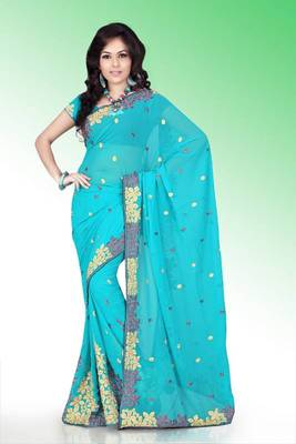 Sky Blue faux georgette saree with blouse (anm526)