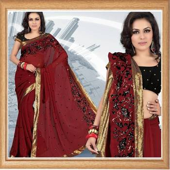 Maroon faux georgette saree with blouse (339)