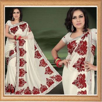 Cream faux shimmer georgette saree with blouse (342)