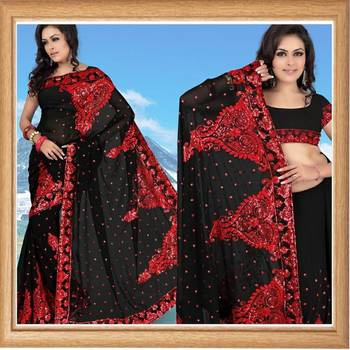 Sable black faux georgette saree with blouse (343)