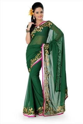 Deep green faux georgette saree with blouse (and802)