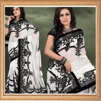 White faux georgette saree with blouse (346)