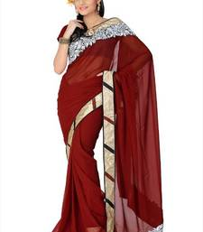Buy Maroon faux georgette saree with blouse (and818) georgette-saree online