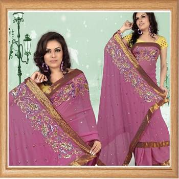 Deep pink faux georgette saree with blouse (353)