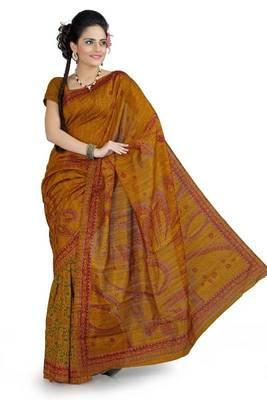 Mustard bhagalpuri silk saree with blouse (ang853)