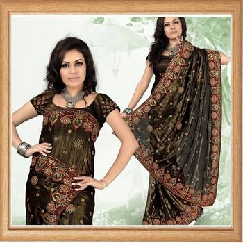 Black faux shimmer georgette saree with blouse (354)