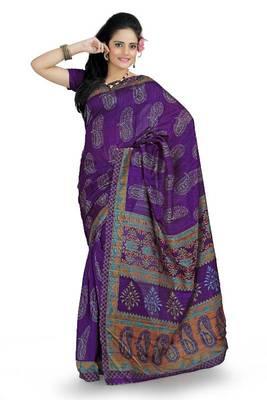 Purple bhagalpuri silk saree with blouse (ang858)