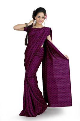 Deep magenta bhagalpuri silk saree with blouse (ang864)