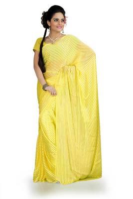 Yellow chiffon saree with blouse (ang869)