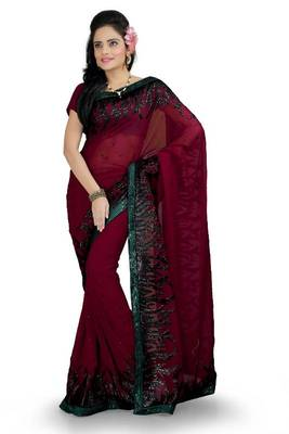 Maroon faux georgette saree with blouse (ang871)