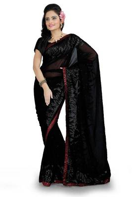 Black faux georgette saree with blouse (ang872)