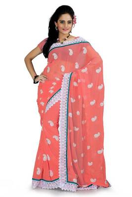 Coral pink faux georgette saree with blouse (ang879)