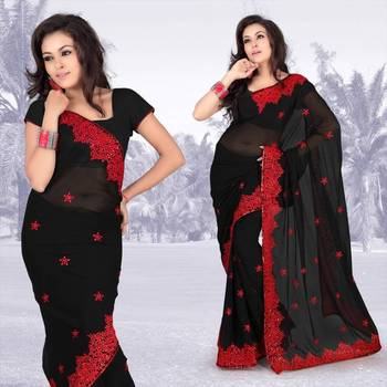 Atrous black faux georgette saree with blouse (312)