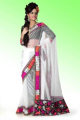 Bollywood White net saree with blouse (anj569)