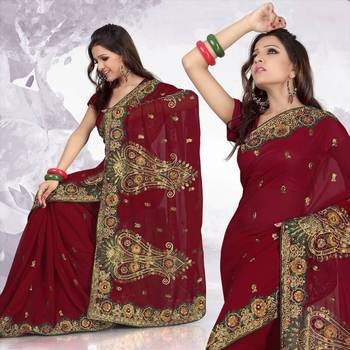 Deep red faux georgette saree with blouse (285)