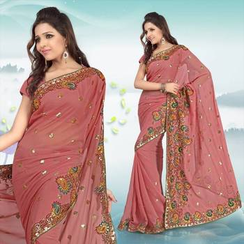 Pretty pink faux georgette saree with blouse (289)