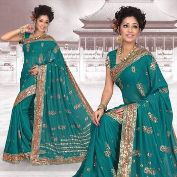 Teal faux shimmer georgette saree with blouse (290)