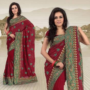 Dark red faux georgette saree with blouse (294)