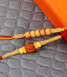Buy Rudraksh rakhi with sandel wooden beads rakhi rudraksha-rakhi online