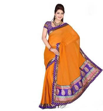 ISHIN Faux Chiffon Orange Saree
