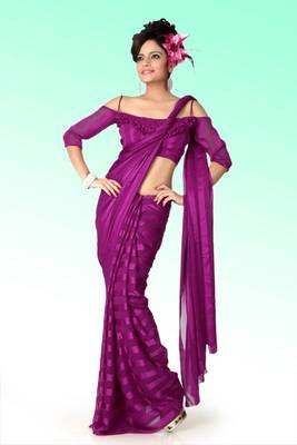Deep magenta brasso saree with blouse (anj589)