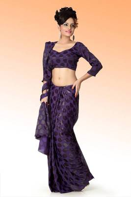 Deep mauve brasso saree with blouse (anj593)
