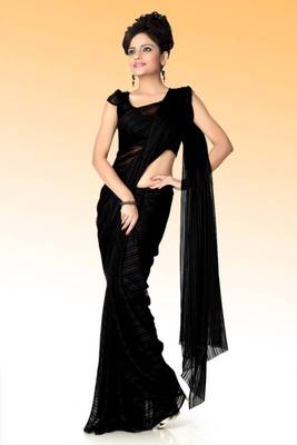 Black chiffon saree with unstitched blouse (anj596)