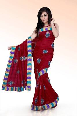 Maroon bhagalpuri silk saree with unstitched blouse (ask527)
