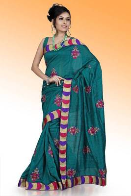 Teal bhagalpuri silk saree with unstitched blouse (ask530)