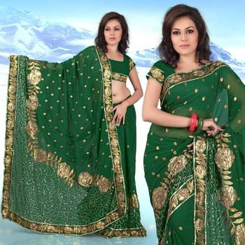 Green faux georgette saree with unstitched blouse (269)