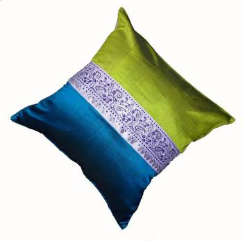 Mulberry Silk Cushions with applique patterns - Peacock Green & Blue
