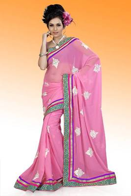 Pretty pink faux georgette saree with unstitched blouse (ask542)