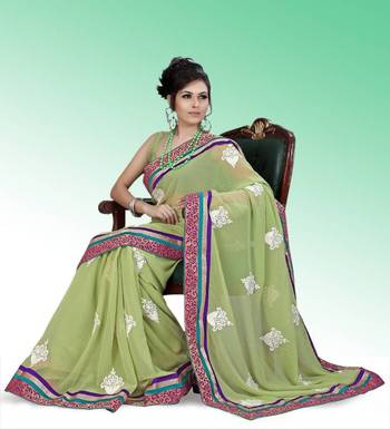 Pastel green faux georgette saree with unstitched blouse (ask544)