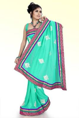 Turquoise faux georgette saree with unstitched blouse (ask546)