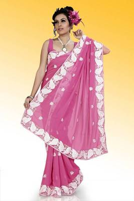 Pink faux georgette saree with unstitched blouse (ask555)