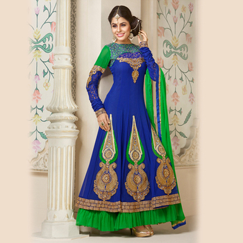Embroidered Blue and Green Anarkali Suit