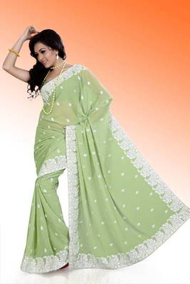 Pastel green faux georgette saree with unstitched blouse (ask559)