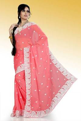 Peach faux georgette saree with unstitched blouse (ask560)