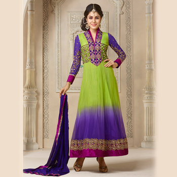Embroidered Green and Blue Anarkali Suit