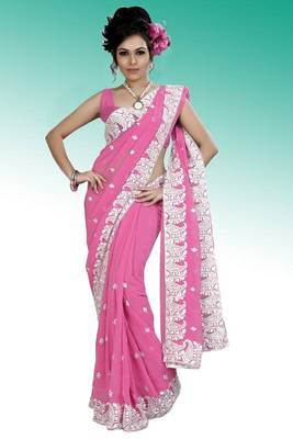 Pink faux georgette saree with unstitched blouse (ask562)