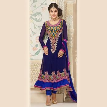 Embroidered Blue Anarkali Suit