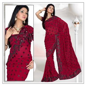 DEEP RED FAUX GEORGETTE SAREE WITH BLOUSE (190)