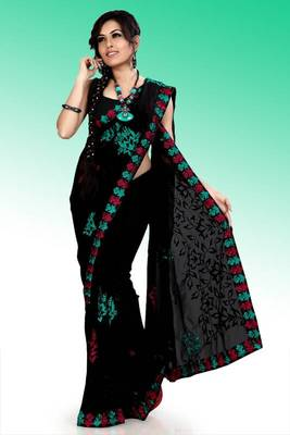 Black faux georgette saree with unstitched blouse (ask564)