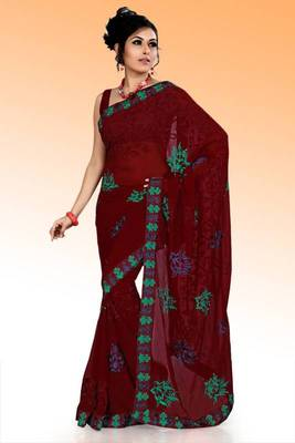 Maroon faux georgette saree with unstitched blouse (ask566)