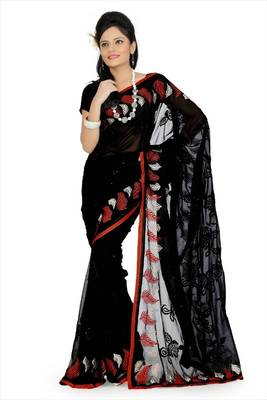 Black faux georgette saree with blouse (aps697)
