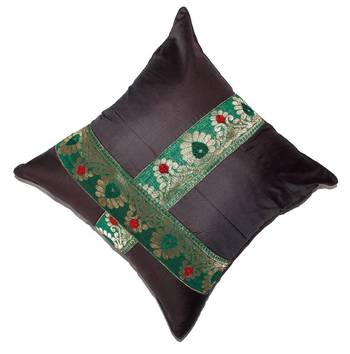 Mulberry Silk Cushions with applique patterns - Dark Brown