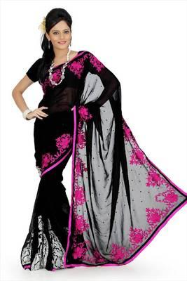 Black faux georgette saree with blouse (aps701)
