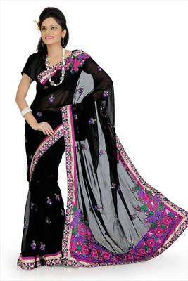 Black faux georgette saree with blouse (aps703)