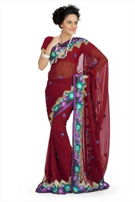 Maroon faux georgette saree with blouse (aps706)