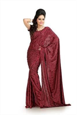 Maroon silk crepe jacquard saree with blouse (msk1063)